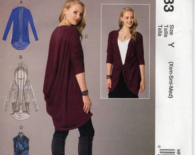 FREE US SHIP McCall's 283 7441 Sewing Pattern Wrap Draped Vest Jacket Hoody Size 4/14 16/26 Bust 29 30 32 34 36 38 40 42 44 46 48