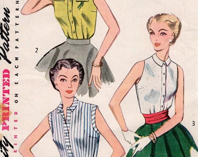 FREE US SHIP Original Uncut Sewing Pattern Vintage Retro 1950s 50s Simplicity 4238 Blouse Sleeveless  Uncut Bust 30