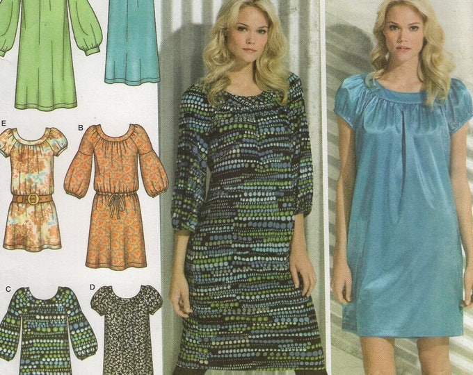 FREE US SHIP Simplicity 3681 Loose Fitting Yoked Dress Mutton Sleeve Size 4/12  4 6 8 10 12 Bust 29 30 31 32 34  Sewing Pattern Out of Print