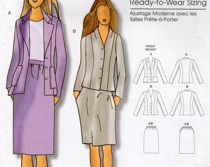 Butterick 5336 Sewing Pattern Free Us Ship Women's Designer Connie Crawford Suit Jacket Skirt Size XS-XL Bust 34 36 38 40 41 Uncut