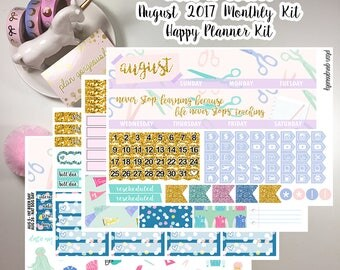 "Happy Planner Monthly Sticker Kit - ""Back To School"" - August Monthly Kit - August 2017 Monthly Kit"