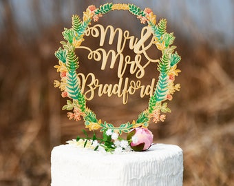 Last Name Cake Topper, Custom Wedding Cake Topper, Personalized Cake Topper for Wedding Made of Wood and Printed with Colorful Floral Wreath