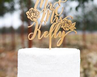 Customized Wedding Cake Topper, Personalized Cake Topper for Wedding, Custom Personalized Wedding Cake Topper, Mr and Mrs Cake Topper VU014
