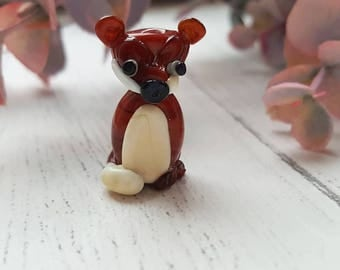 Fox Glass Bead - Wildlife Beads - Animal Glass Beads - Handmade Beads -Animal Focal Bead - Lampwork Beads - Glass Beads for Jewellery Making