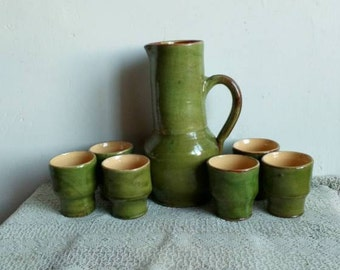 Green Glazed Terracotta Water Jug and Beakers, Rustic Farmhouse Pitcher Set,