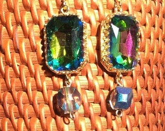 Victorian Style Drop Earrings with Multicolored Aurora Borealis Rhinestones in Gold Filled Setting