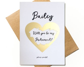 Personalised scratch to reveal - Will you be my Bridesmaid?