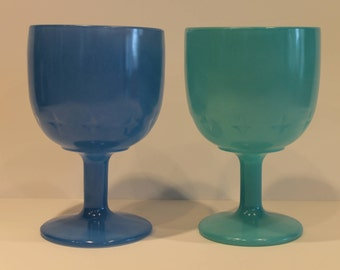 Set of 2 - Vintage Blue Glass Goblet - Bartlett Collins - Starburst Goblet Cup - Fire On Blue Glass