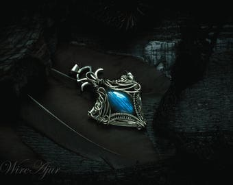 Made to order// labradorite pendant wire wrapped pendant wire wrap German silver pendant gift for women labradorite necklace unisex pendant