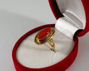 Ring 333 gold coral Old simple Elegance Vintage GR487