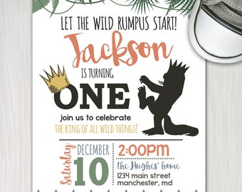 wild things first birthday invite, boy 1st birthday printable invitation, wild rumpus birthday, king of all wild things