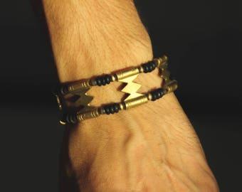 Bracelet Bronze - Coconut - White Brass - Seeds - Handmade - Adjustable size - Tribal - Ethnic - Original - Hippie - Boho - Gypsy - Travel