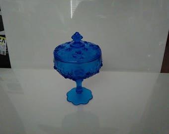 Vintage Fenton Blue Cabbage Rose Covered, Pedastal Candy Dish