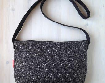 Cotton shoulder bag with zipper