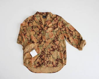 autumn floral blouse | liz claiborne blouse | brown floral blouse