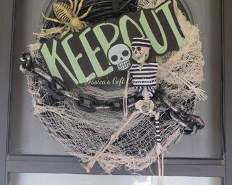 Ready to Ship Prisoner Skeleton Wreath/Halloween Wreath/Keep Out Decor/Front Door Wreath/Skeleton Grapevine Wreath/Creepy Wreath/Skulls