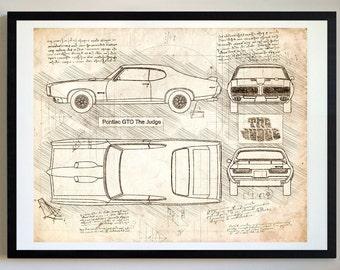 Pontiac GTO The Judge (1969) Pontiac Artwork, Blueprint Specs, Blueprint Patent Prints Posters, GTO Decor, Art, Car Art, Cars (#302)
