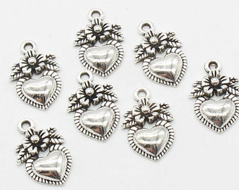 10 Pcs Heart Charms Love Charms Antique Silver Tone 16x10mm - YD0247