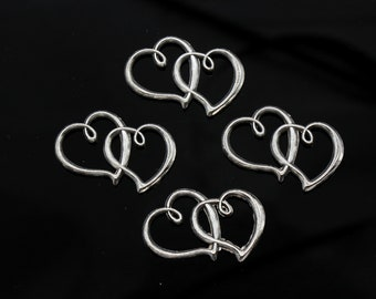 5 Pcs Double Open Heart Charms Love Charms Antique Silver Tone 2 Sided 30x20mm - YD0398