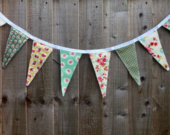 BUNTING   Colourful / Multi-Coloured / Green / Yellow Floral / Shabby Chic    Interior / Nursery   Exterior / Summer Garden Party Décor
