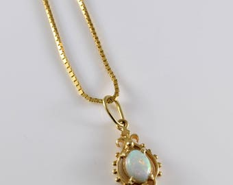 14K Gold Lab Created Opal Necklace