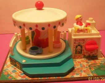 Fisher Price Little People Musical Merry Go Round 1972 Carousel Music And Carousel Action Works, No. 111   Has Carousel Operator Attached