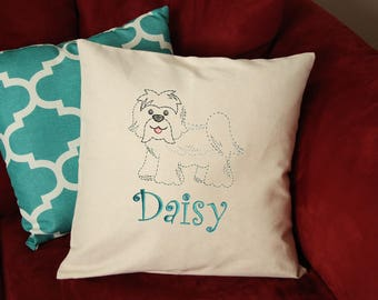 Havanese Dog Pillow - Havanese Pillow Personalized - Havanese Dog Gift - Custom Dog Pillow - Dog Pillow with Name - Embroidered