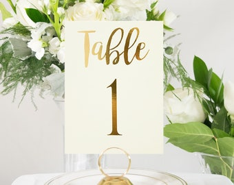 Ivory and Gold Foil Wedding Table Numbers, Custom, Elegant, Handmade, also in Rose Gold, Silver, or Copper Foil #0102nb