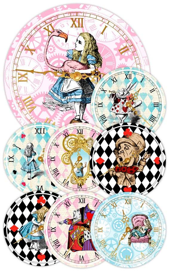 ALICE IN WONDERLAND Clocks Printable Clock Vintage Alice