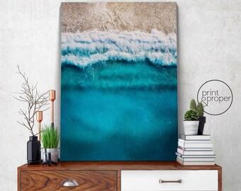 AERIAL BEACH SEA Ocean Bird's Eye - Wall Art Print Poster Canvas - On Trend