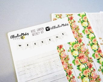 Rose Garden Weekly Sticker Kit for use with EC LifePlanner™/Happy Planners
