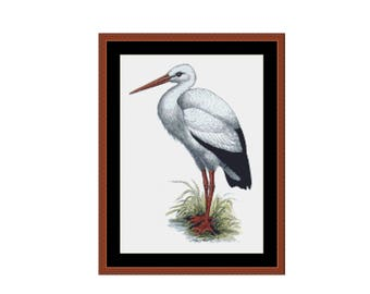 Stork Counted Cross Stitch Pattern / Chart,  Instant Digital Download   (AP244)
