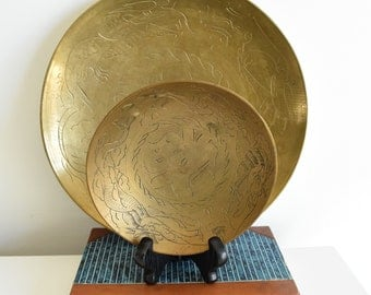 Chinese Brass Bowl - Double Dragon Brass Bowl - Chinese Happiness Brass Bowl - Etched Brass Bowl - Shallow Brass Bowl-Gold Tone Chinese Bowl