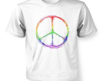 Rainbow Peace Sign kids t-shirt