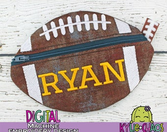 Football Zippered Pouch ITH In the Hoop Machine Embroidery Design Pattern