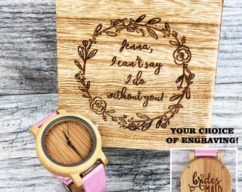 Engraved Wood Watch Women, Watches for Women, Bridesmaid Gift, Bridesmaid Proposal, Mothers Day, Watch for Her, Wooden Watch, Women Jewelry