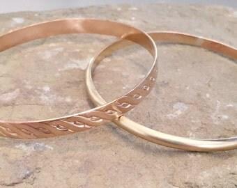 Brass bangle bracelets, round bangle bracelet, pattern bangle bracelet, stackable brass bracelets, brass bracelets, gift for her