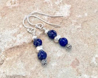 Blue drop earrings, lapis drop earrings, Hill Tribe silver dangle earrings, sterling silver drop earrings, blue dangle earrings gift for her