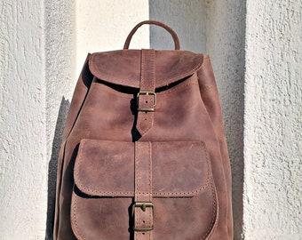 Women Backpack from Full Grain Leather - Handmade in Greece