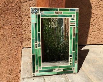 stained glass mosaic mirror mosaic mirror bathroom mirror mirror for bathroom green