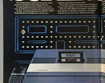 1983 Atari 5200 SuperSystem Centerfold Print Ad - PAC-MAN - Vintage Computer Game Ad
