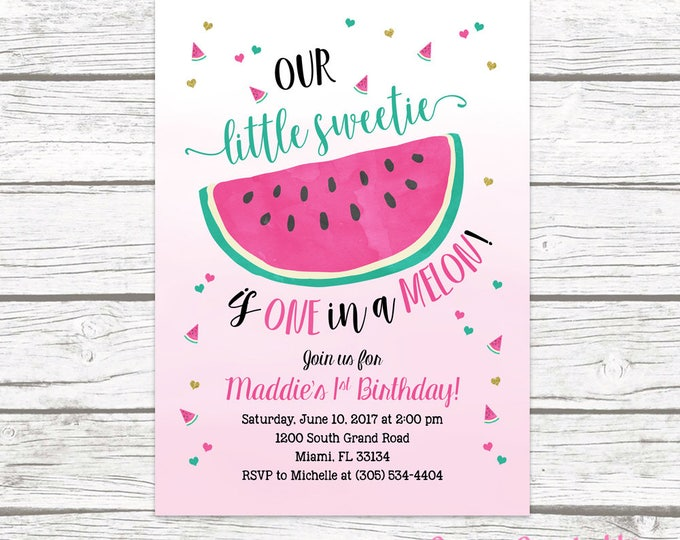 Watermelon Birthday Invitation, Watermelon Invitation, Watercolor First 1st Birthday Invitation Girl, First 1st Birthday Invite Printable