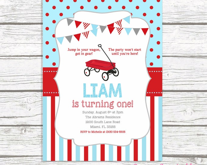Red Wagon Birthday Invitation, Little Red Wagon Birthday Invitation, Red Wagon Birthday Party Invite, First 1st Birthday Invitation Boy