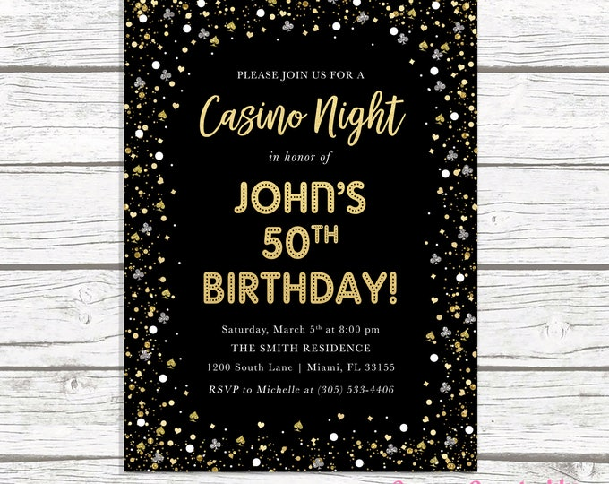 Casino Night Invitation, Casino Night Invite, Casino Invitation, Casino Birthday Invitation, Adult Birthday Invitation, Las Vegas Invitation
