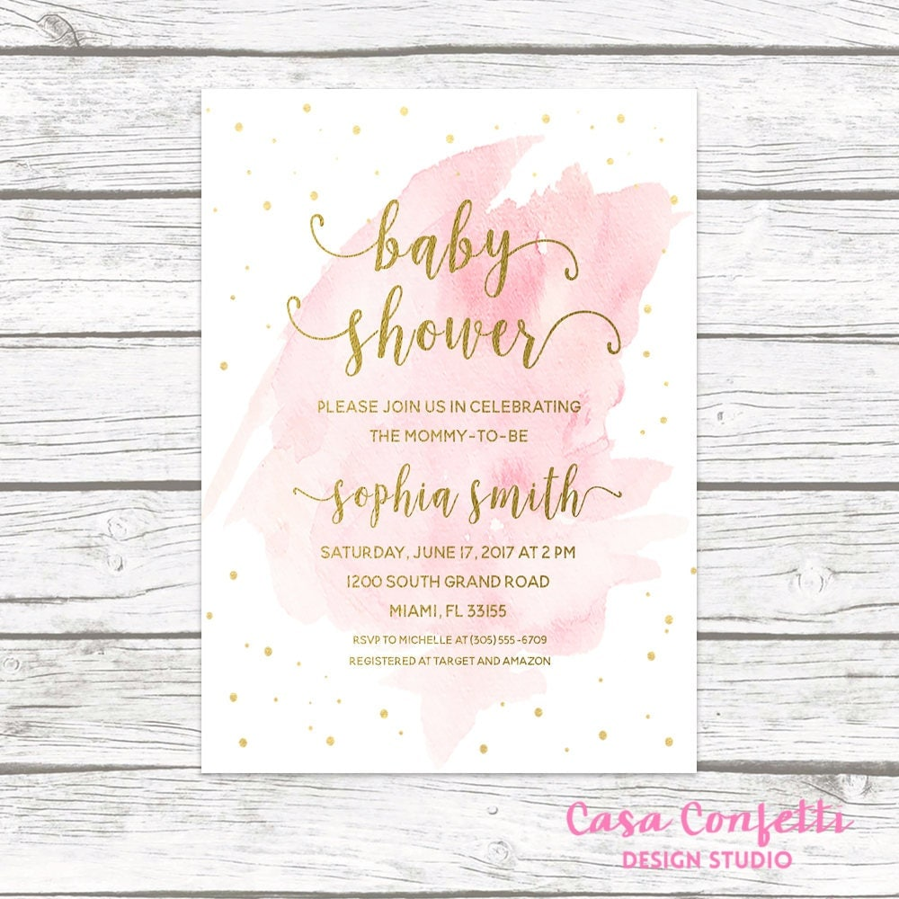 Pink and Gold Baby Shower Invitation, Watercolor Baby Shower ...