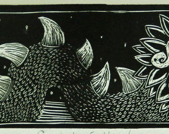 Art Burin Print, Quetzalcoatl, Mexican art, Decor, Wall art, Prints
