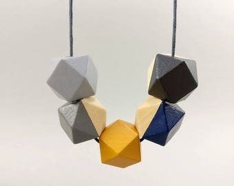 Geometric Necklace - Grey, Navy & Mustard | Statement Necklace | Gift for her | Geometric Jewellery | Beaded necklace | Minimalist necklace