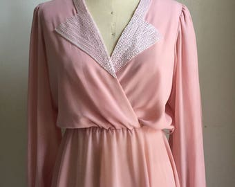 Pink chiffon dress with embroidered v-neckline