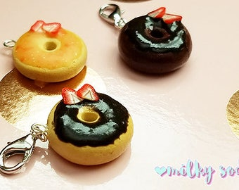 Donut Charm, Planner Charm, TN Charms, Stitch Markers, Fake Sweets, Sweets Deco, Food Jewelry, Planner Accessories, Phone Charm, Clay Charm