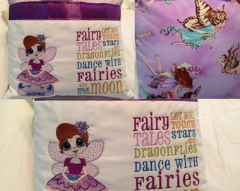 Pocket pillow fairy reading pillow purple child reading pillow fairy fabric fairy tale quote zip close dark purple satin December embroidery